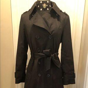 DKNY Black Trench Coat Size PS